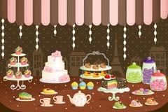 De opslagvertoning van cakes vector illustratie