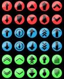 De opstelling van de pijlkleur en beneden, uploadt download Royalty-vrije Stock Afbeeldingen