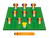 De opstelling van het de voetbalteam van Andorra op voetbalgebied voor Europese footba royalty-vrije illustratie