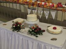 De opstelling van de huwelijksontvangst met alle lijstregelingen voor bruids partij en gasten stock afbeelding