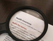 De Opties van het ziektekostenverzekeringplan stock afbeelding