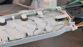 De optische doos van de vezel stock video