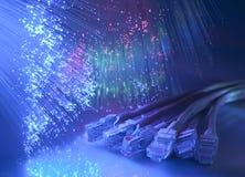 De optische kabelachtergrond van de vezel stock fotografie