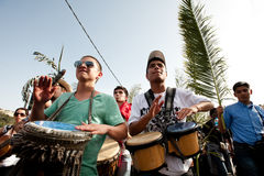 De Optocht van de Palmzondag in Jeruzalem Stock Foto
