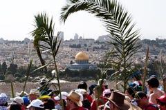 De Optocht van de Palmzondag in Jeruzalem Stock Foto's