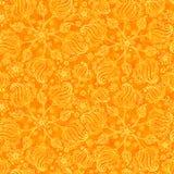 De oranje abstracte krabbel bloeit naadloos patroon Stock Fotografie