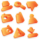 De oranje acrylpictogrammen van media Royalty-vrije Stock Foto's