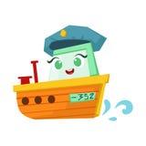 De Oranje Boot van de rivierpatrouille, Leuke het Beeldverhaalillustratie van Girly Toy Wooden Ship With Face Royalty-vrije Stock Afbeeldingen