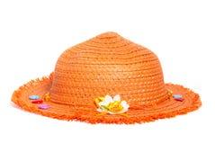 De oranje die hoed van stropanama op witte achtergrond wordt geïsoleerd Royalty-vrije Stock Fotografie