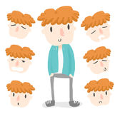 De oranje emotie van de haarjongen royalty-vrije stock afbeelding