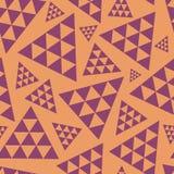 De oranje en purpere willekeurige driehoek herhaalt vectorpatroon Moderne levendige boho vibe Groot voor yoga, schoonheidsproduct stock illustratie