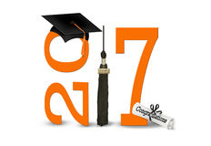De oranje en zwarte graduatie van 2017 Royalty-vrije Stock Foto's