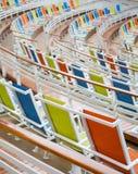 De oranje Groene en Blauwe Stoelen van het Doekstadion Stock Afbeelding