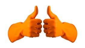 De oranje handschoenen voor het schoonmaken op het wapen van mensen tonen geïsoleerde duimen, Stock Afbeelding
