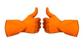 De oranje handschoenen voor het schoonmaken op het wapen van mensen tonen geïsoleerde duimen, Stock Foto's