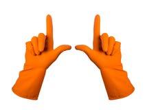 De oranje handschoenen voor het schoonmaken op het wapen van mensen tonen geïsoleerde vinger, Royalty-vrije Stock Afbeeldingen
