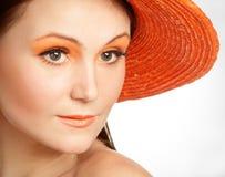 In de oranje hoed Royalty-vrije Stock Afbeelding