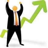 De oranje HoofdHand van suit_Two omhoog met omhoog Grafiek Stock Afbeelding