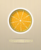 De oranje illustratie van de fruitprentbriefkaar Stock Afbeeldingen