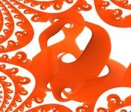 De oranje plastic objecten golf poetst en nadenkend - Desktop hoge resolutie op Royalty-vrije Stock Afbeeldingen