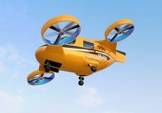 De oranje Taxi die van de Passagiershommel in de hemel vliegen royalty-vrije illustratie