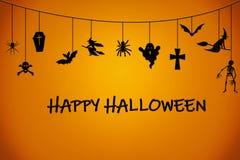 De oranje zwarte achtergrond van Halloween met spook, spin, kruis, knuppel royalty-vrije illustratie