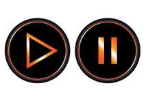 De oranje zwarte vector van het de knooppictogram van de spelpauze vector illustratie