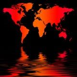 De oranjerode Kaart van de Wereld stock illustratie