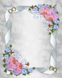 De orchideeën van de de uitnodigingsgrens van het huwelijk vector illustratie