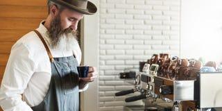 De Ordeconcept van Baristaprepare coffee working royalty-vrije stock foto