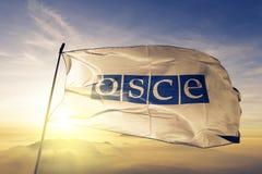 De organisatie voor Veiligheid en de Samenwerking in stof die van de de vlag de textieldoek van Europa OVSE op de hoogste zonsopg royalty-vrije illustratie
