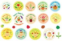 De organische Illustratie, het Pictogram, het Embleem en het Kenteken van het Babyvoedsel Vector Stock Afbeeldingen