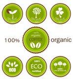 De organische vectoretiketten van Eco Stock Foto