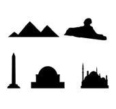 De oriëntatiepunten en de aantrekkelijkheden van Egypte stock illustratie