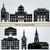 De oriëntatiepunten en de monumenten van Bern Stock Afbeelding