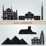 De oriëntatiepunten en de monumenten van Kaïro stock illustratie
