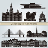 De oriëntatiepunten en de monumenten van Kopenhagen Stock Foto