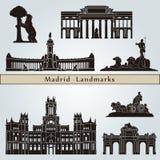 De oriëntatiepunten en de monumenten van Madrid Stock Afbeeldingen