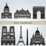 De oriëntatiepunten en de monumenten van Parijs Stock Afbeelding