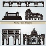 De oriëntatiepunten en de monumenten van Rome Stock Foto's
