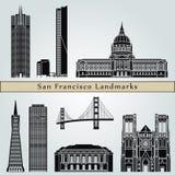De oriëntatiepunten en de monumenten van San Francisco royalty-vrije illustratie