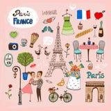 De oriëntatiepunten en de pictogrammen van Parijs Frankrijk Stock Fotografie