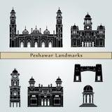 De oriëntatiepunten en de monumenten van Peshawar op blauw worden geïsoleerd dat royalty-vrije illustratie
