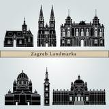 De oriëntatiepunten en de monumenten van Zagreb royalty-vrije illustratie