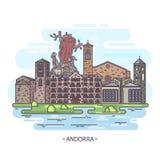 De oriëntatiepunten van Andorra of Andorrese architectuur vector illustratie