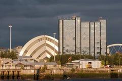 De oriëntatiepunten van de rivieroever in Glasgow, Schotland Royalty-vrije Stock Fotografie