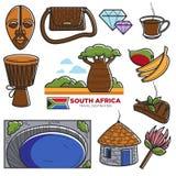 De oriëntatiepunten van het de reistoerisme van Zuid-Afrika en Afrikaanse beroemde toeristische attracties vectorpictogrammen Stock Afbeelding