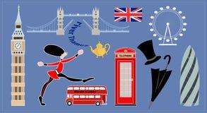 De oriëntatiepunten van Londen Inzameling van beelden - traditionele symbolen van Engeland Stock Foto's