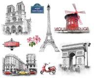 De oriëntatiepunten van Parijs De illustratie trekt, beschrijft stijl Royalty-vrije Stock Fotografie