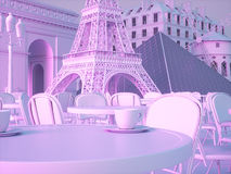De oriëntatiepuntenachtergrond van Parijs het 3d teruggeven Stock Afbeeldingen
